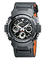 G-Shock  AW-591MS-1AER Men's Quartz Watch with Black Dial Analogue - Digital Display and Black Other Strap