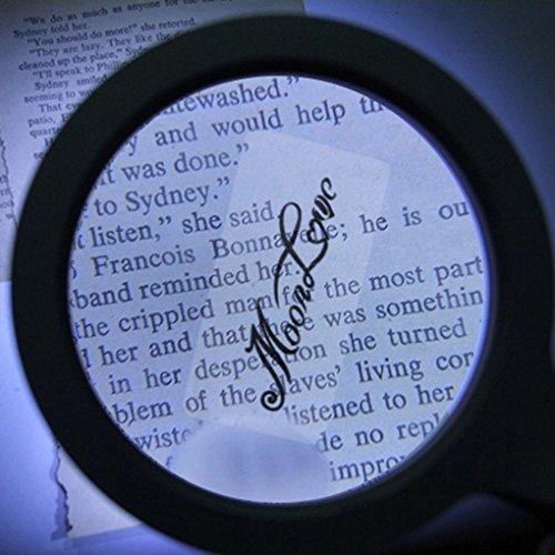 Leselupe 5X Lupe mit 12 LED Licht zum Lesen Beleuchtete Handlupe Juwelierlupe Vergrößerungsglas für Senioren, Bücher, Zeitungen, Hobby und Handwerk - 6