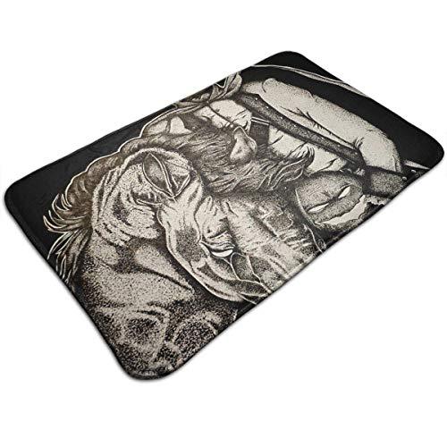 Uosliks Kopfloser Reiter Kunstdruck Gemälde Pferdewurf Bodenmatte Willkommen Eingangsbereich Teppich Küche Bad Boden Party Teppich - Non Skid Küche Teppich