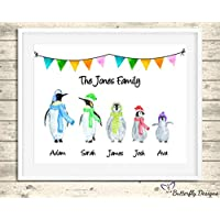 Personalised Penguin Family Watercolour Premium Print Picture A5, A4 & Framed Options - Design 1