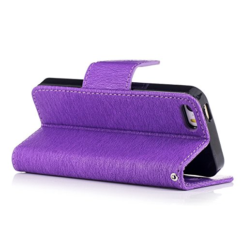 Custodia iphone 5 / 5s / SE, Felfy Flip iphone 5 / 5s / SE Custodia Cover, Custodia in Pelle Premium Cover in Folio per iPhone 5 / 5s / SE Modello di Orso Cartone Animato con Funzione di Supporto e Ci Orso,Porpora