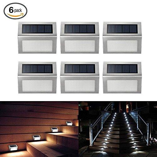 Loveusexy Solar Step Lights 3 LED Solar Powered escalier éclairage extérieur pour les marches chemins patios terrasses étanches 6PCS
