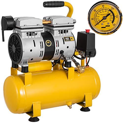 Mophorn Kompressor-ölfreier Kompressor 750W tragbaren ohne Ölschmierkompressor Druck 9L (750W / 9L)