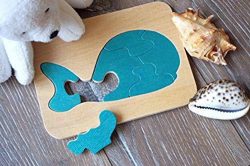 Holz puzzle Blau wal Montessori Spielzeug