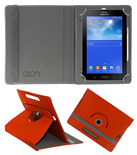 Acm Rotating 360° Leather Flip Case for Samsung Galaxy Tab 3 T111 Neo Tablet Cover Stand Orange  available at amazon for Rs.149