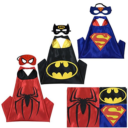 SquishyBean 3Sets Kinder Cape und Masken Superman Batman und Spiderman Kostüme Super Hero Kleid bis Superman Batman & Spiderman Kostüme Avengers Superman Batman und Spiderman Fancy Kleid (Batman Kostüm 1 Jahr Alt)