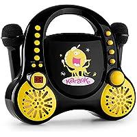 auna Rockpocket • Karaoke para niños • Karaoke • 2 x micrófonos dinámicos • Reproductor de CD • Altavoces estéreo • programable • función repetición • Efecto Eco • asa de Transporte • Negro