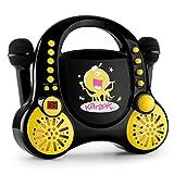 Auna Rockpocket • chaîne Karaoké pour enfants • 2 microphones inclus • Lecteur CD+G • enceintes stéréo • fonction répétition et AVC • effet écho • alimentation optionnelle par piles • noir