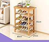 Natürliches Bambusschuhregal mehrstöckiges einfaches festes Holzschuhwohnzimmer für Schuhe Schemelhaushaltschuh-Lagerregal ( größe : 60 )