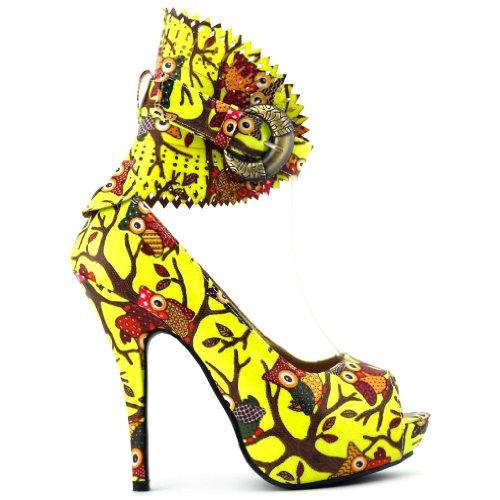Visualizza Story Multicolore Motivo floreale / Animal Gladiator Platform Pumps, LF30402 Neon Yellow