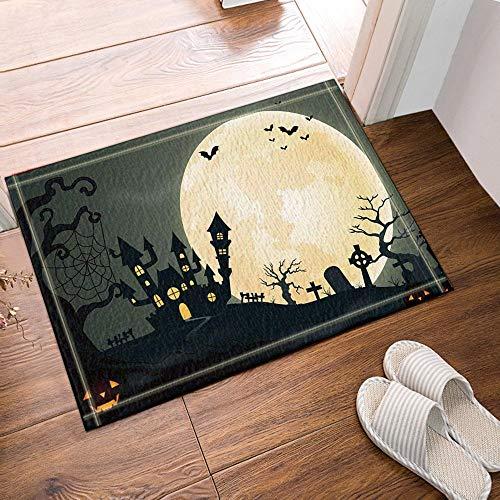 JHTRSJYTJ Happy Halloween Fledermaus im Mond Badteppich Skid Outdoor, 15.7X23.6in Badematte -