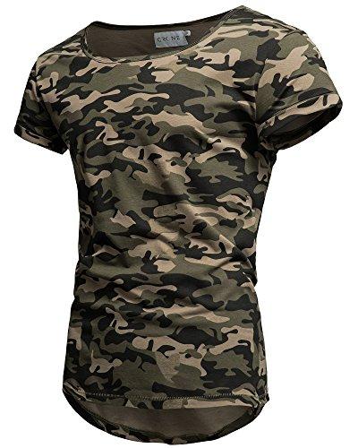 b7262b43b052 Crone Herren Kurzarm Rundhals Basic Oversize Slim Fit T-Shirt (L,  Camouflage)
