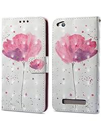Ooboom® Xiaomi Redmi 5A Funda 3D Magnético Flip Wallet Case Cover Carcasa Piel PU Billetera Soporte para Xiaomi Redmi 5A - Flor Púrpura