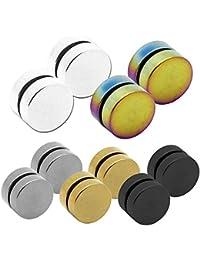 2 Plugs falso Imán pendientes magnético fake plug tunnel piercing 6 8 10 12 mm Color plata/negro/oro/blanco/arco iris