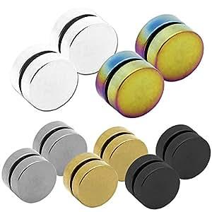 2 magnétique faux plugs fake tunnel plug couleur noir/argent/or/blanc sans trou de l'oreille 6 8 10 12 mm boucle d'oreilles, Farbe2:5 Farben Set - 10mm