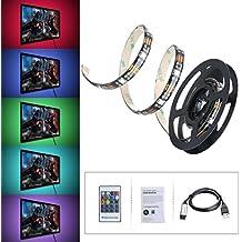 Striscia LED OMorc 1m 5050 SMD USB RGB 30 LED 8 Colori Impermeabile Illuminazione Flessibile Backlight Autoadesive per TV Decorazione con Telecomando - 1 Segno In Bianco