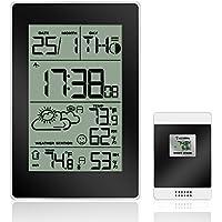 Reloj despertador, protmex Digital estación meteorológica inalámbrica con alarma reloj, repetición de alarma, función de interior/al aire libre de temperatura/humedad, fase de la luna