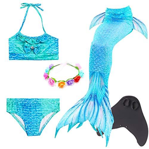 LCXYYY Mädchen Meerjungfrauenschwanz für Schwimmen Bikini Set Schwimmanzug Meerjungfrau Flosse Badeanzüge Bademode Prinzessin Cosplay Kostüm Meerjungfrauenflosse für Kinder Monoflosse Blumenkranz 5pcs