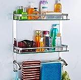 LHbox TapDas Badezimmer Glas Regale 304 Edelstahl Handtuchhalter Bad Regale Regale mit Glaswand, B