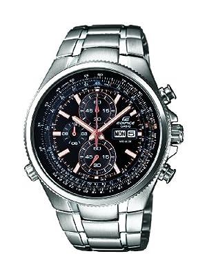 Casio EDIFICE - Reloj analógico de caballero de cuarzo con correa de acero inoxidable plateada (cronómetro) - sumergible a 100 metros