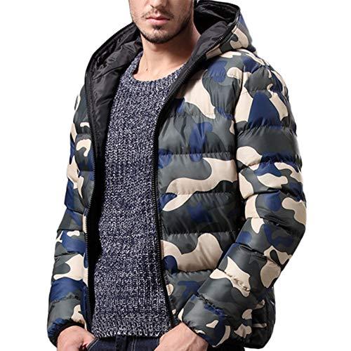 MEIbax Abrigo para Hombre Chaqueta Camuflaje de otoño Invierno Caliente Capa Gruesa Cazadoras De Plumas y Copo de Nieve Calor Grueso Manga Larga Chaquetas con Capucha