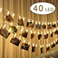 Cookey LED Photo Clip String Lights - 40 Photo Clips 5M LED Picture Lights for Decoration Hanging Photo, Notes, Artwork ¡
