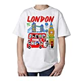 London Cartoons England UK Souvenir Kinder T-Shirt Gr. 11 Jahre, Weiß - Weiß