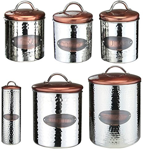 Stainless Steel Copper Tea Coffee Sugar Pasta Biscuits Storage Jars Canisters Bread Bin Tins