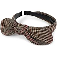 styleBREAKER Women Retro Hairband with Glen Check Pattern and Bow, Hairband, Headband, 04026019, Color:Brown-Beige