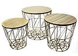 Noor 3er Set Design Beistell Couch Nacht Tische Wohn Zimmer Ablagefläche Gold braun 77149