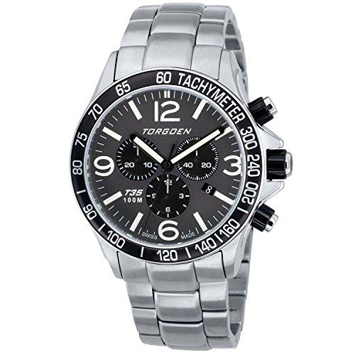 TORGOEN Swiss T35202 - Reloj de cuarzo para hombre, con correa de acero inoxidable, color plateado