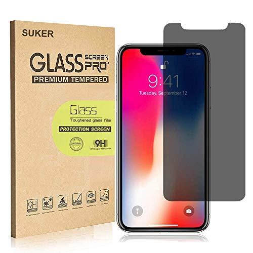 Displayschutzfolie für iPhone X/iPhone XS (5,8 Zoll), volle Abdeckung, Suker [9H Härtegrad: 3D Touch] [Anti-Kratz] [Blasenfrei] Anti-Spy gehärtetes Glas, einfache Installation, Privacy Filter-anti Glare Screen Protector