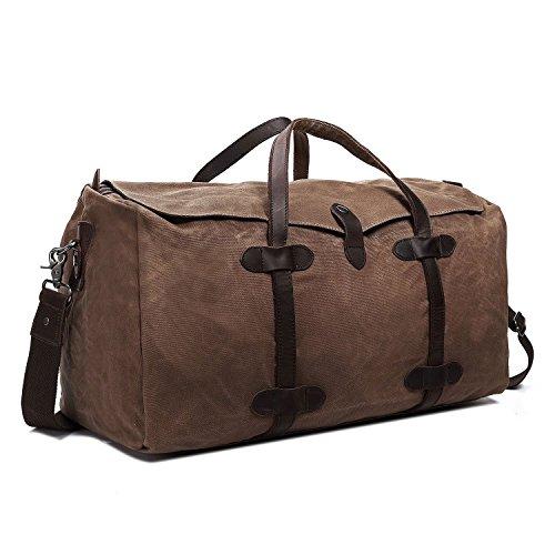 Reisegepäck Fresion, Robust Schultertasche Damen Großräumige Reisetasche Arbeitstasche Herren Weekender Tasche für Kurze Reise am Wochenend Urlaub (Khaki)