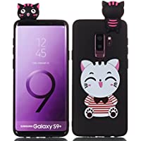 HopMore Funda Samsung Galaxy S9 Plus Silicona Motivo 3D Divertidas TPU Gel One Piece Kawaii Original Ultrafina Slim Case Antigolpes Caso Protección Flexible Cover Design Gracioso para Samsung S9 Plus - gato Blanco