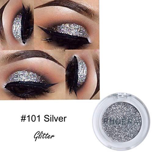 Lidschatten Palette Glitzer,PHOERA Glitter Powder Shimmering Colors Lidschatten Metallic Eye Cosmetic,Grau
