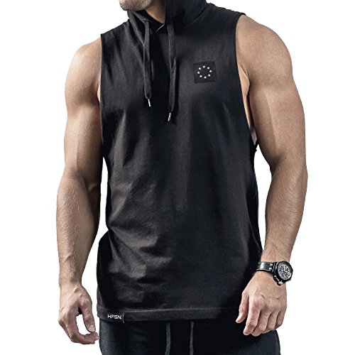Hyperfusion Core Hooded Cut Off Tank Top Shirt Hoodie Gym Fitness (XL, Schwarz)