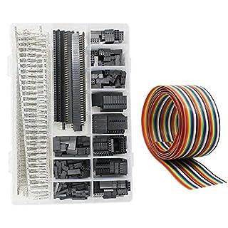 WayinTop Dupont Stecker mit 1M 1,27mm Jumper Wire Kit Männlich Weiblich Verbindungsstecker Verbinder Buchse Gehäuse 1 2 3 4 5 6 8 10 Pin 2,54mm 40 Pin Header Stiftleiste (Anschlussklemmen Set)