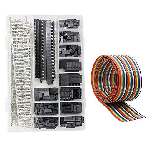 WayinTop Stecker mit 1M 1,27mm Jumper Wire Kit Männlich Weiblich Verbindungsstecker Verbinder Buchse Gehäuse 1 2 3 4 5 6 8 10 Pin 2,54mm 40 Pin Header Stiftleiste (Anschlussklemmen Set) (1 3 2 8)