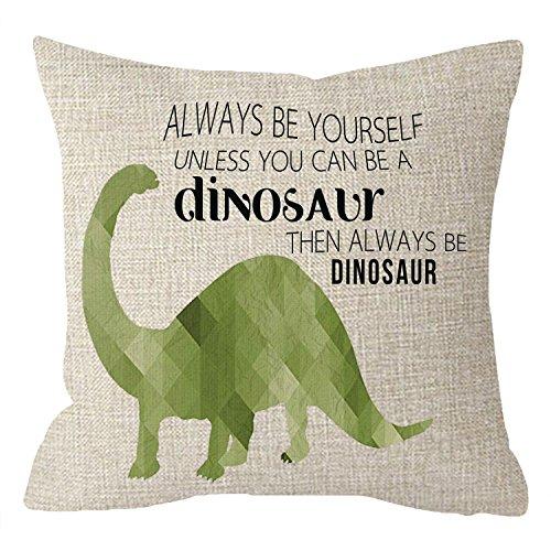 Niditw kids room decor watercolor cute animal dinosauri con frasi divertenti, sempre essere un dinosauro corpo tiro federa cuscino federa divano letto decorativo quadrato 45,7cm
