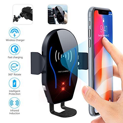 Dimi Wireless-Autoladegerät-Halterung, Qi-Schnellladung, Auto-Air-Vent-Handyhalter mit automatischer Klemmung, 10W kompatibel für Samsung Galaxy S9 S8 Note 8 9,7.5W für iPhone XS Max XR XS X 8 Plus -