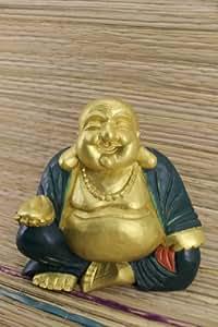 30 cm Boudha rieur Bois Bouddha Statue Pièce unique Superbe rayonnement Multicolore Or, Doré Vert Peint Cloisonne Tibet Art N27