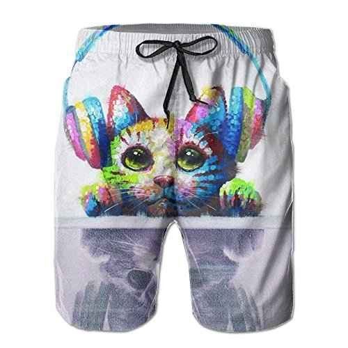 Men Animal Cat Headset Fashion Beach Pant Tide Stamp Shorts,Men's Beach Shorts Quick Dry Summer Surfing Trunks Surf Board Shorts Beach Pants with Pockets for Men XX-Large -