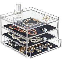 mDesign - Caja organizadora de bijouterie; guarda anillos, aros, pulseras, collares, anteojos, gafas de sol - 3 cajones delgados - Claro/negro