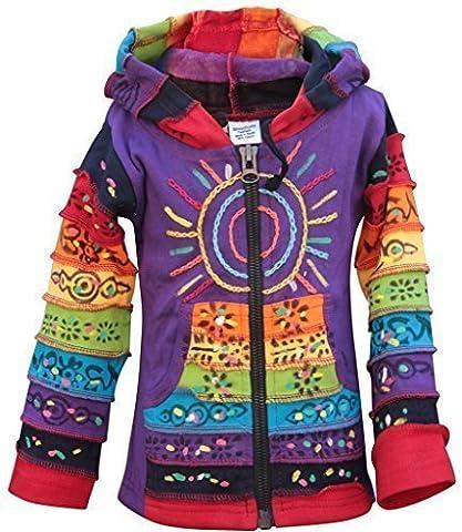 Sun Patchwork Kids Hippie Hoodie Jacket (L,Purple)