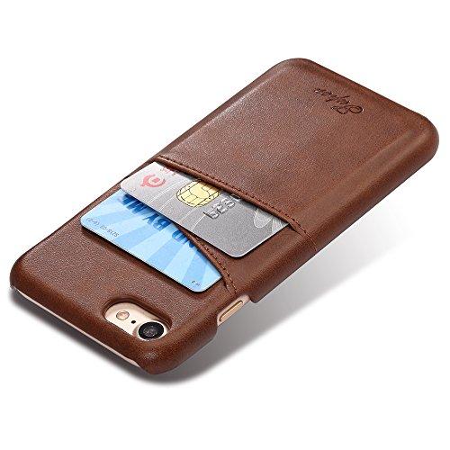 iPhone 7 Hülle,VENTER®Aus Echtem Leder Mit Visitenkartenfach. Dünnes Backcover Als Edles Zubehör Für Das Original Apple iPhone 7 - 100% Geld-Zurück-Garantie braun