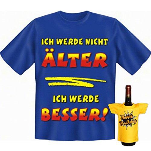Geburtstags Set T-Shirt + Mini für die Flasche <->          Älter und Besser          <->           ein kleines lustiges Geschenk Goodman Design®Royal-Blau Royal-Blau