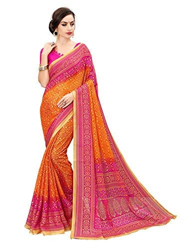Glory Sarees Women's moonga cotton saree(bandhanisaree1_orange)