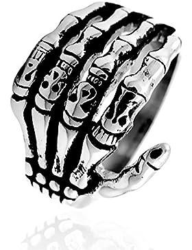 Totenkopf Ring Herren Edelstahl Biker Skull Skelett Knochen Hand Finger Gothic