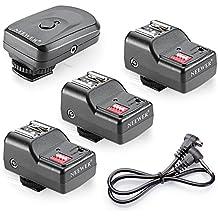 Neewer - 16 canales de FM inalámbrico de control remoto del flash Speedlite Radio Disparador 1 Transmisor 3 Receptores 1 PC cable de sincronización para Canon 580EX II 580EX 550EX 540EZ 520EZ 430EX 430EZ 420EX 420EZ 380EX, Nikon SB-800 SB-600 SB-28, SB-27, SB-26 SB-25, SB-24, FL-50 FL36 Olympus, Pentax AF-540 FGZ AF-360 FGZ AF-400 AF FT-240 FT, Sigma EF-500 DG sUPER EF-500 DG ST EF-430, Sunpak Auto 622 2000DZ Pro 433D 433AF