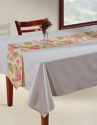 Indian Patterned Duck Cotton Table Runner - 33 cm x 182 cm - Pink, Lilac, Green and Beige Floral